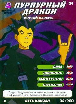 Черепашки ниндзя - Пурпурный даракон - крутой парень. Карточка№34